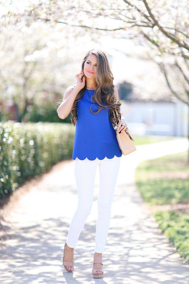 Blue Top and White Pants via