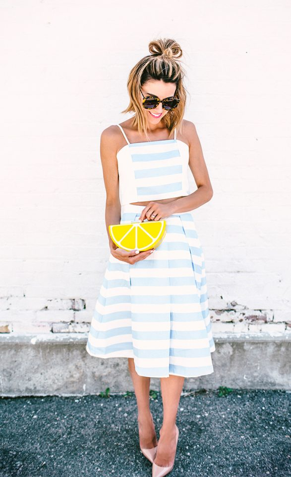 Blue and White Striped Outfit via