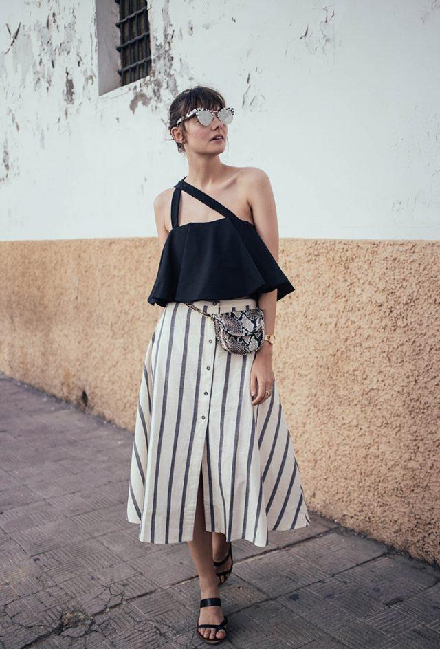 Button-up Striped Long Skirt via