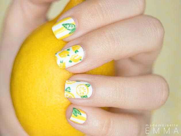 Cute Lemon Nails via