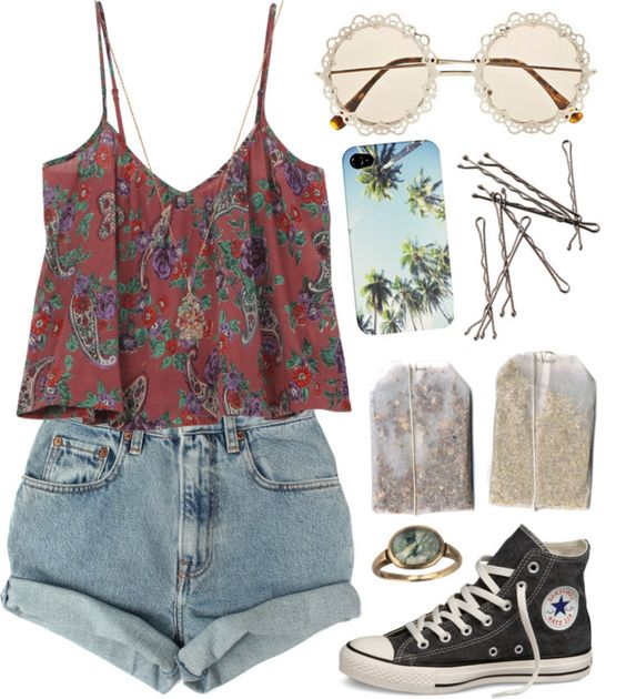 Floral Top and Rolled Shorts via