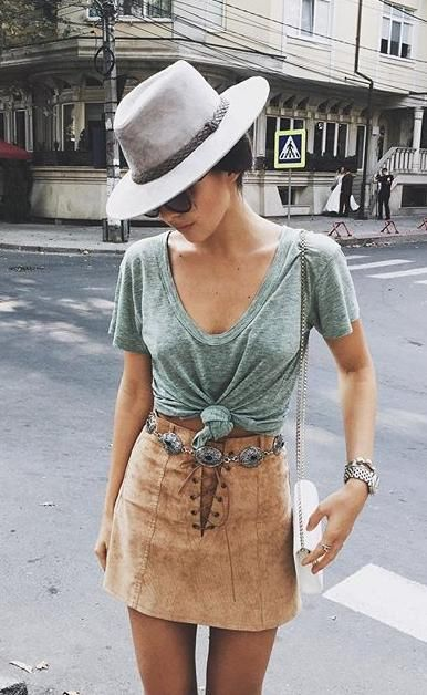 Green T-shirt and Suede Skirt via