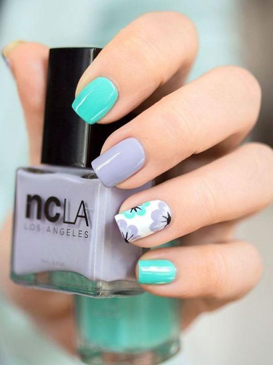 Green and Purple Nails via