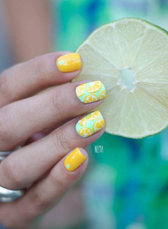 Green and Yellow Nails via