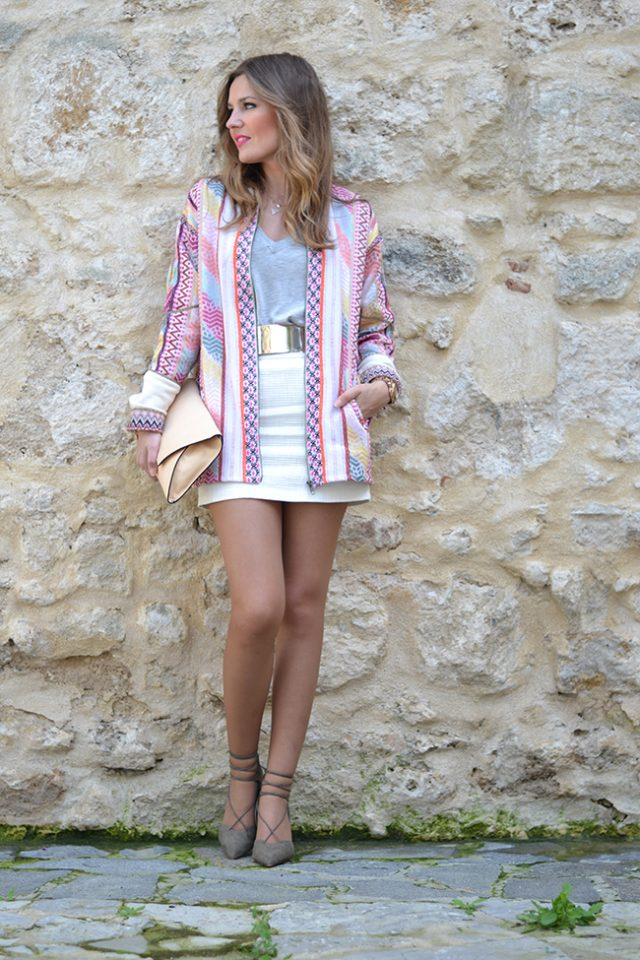Grey and White Outfit with Patterned Jacket via