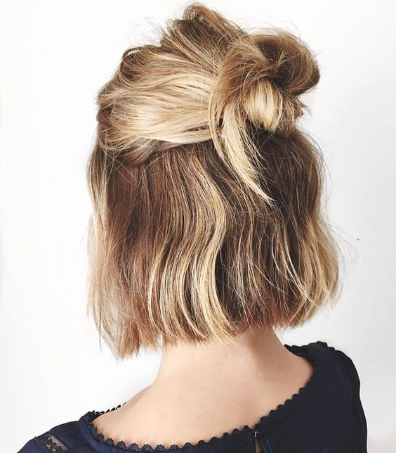 Half Bun for Blonde Hair via