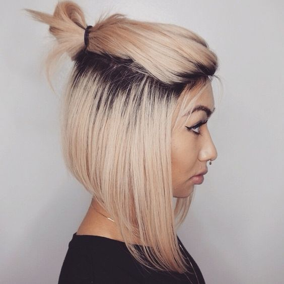 Half Bun for Two-tone Hair via