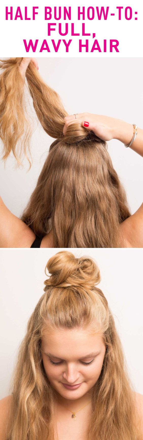Half Bun for Wavy Hair via