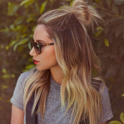 Highlighted Hair with Bun via