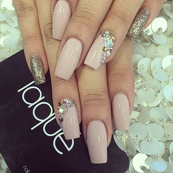 Nude Nails with Gems via