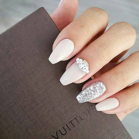 Nude Nails with Glitter via