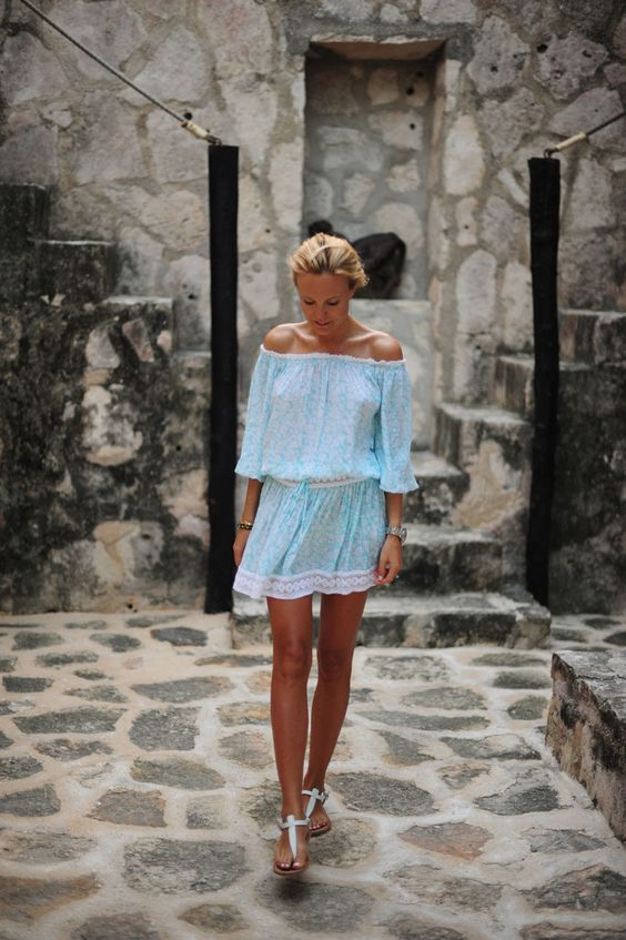 Off-shoulder Blue Dress via