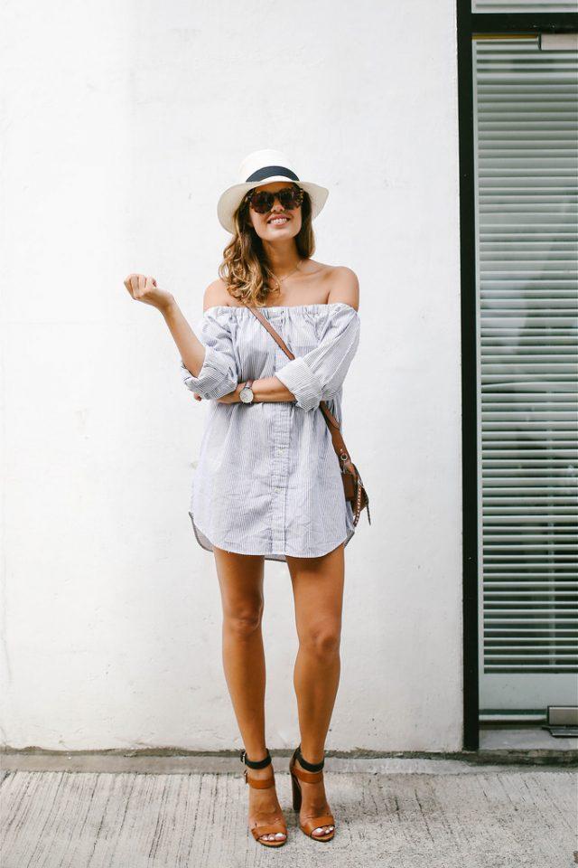 Off-shoulder T-shirt Dress and High Heels via