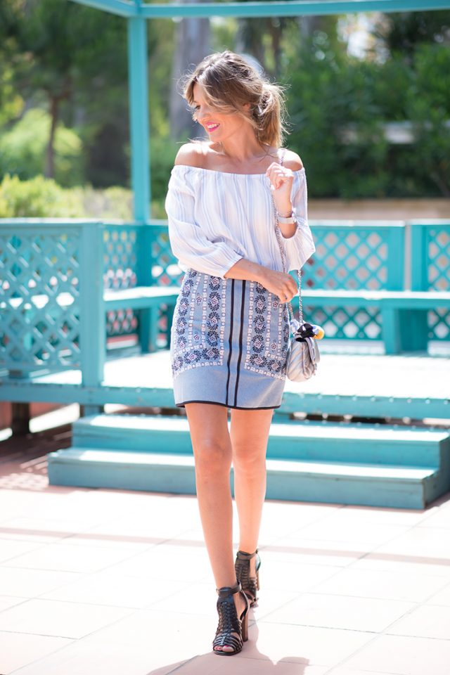 Off-shoulder Top and Mini Skirt via