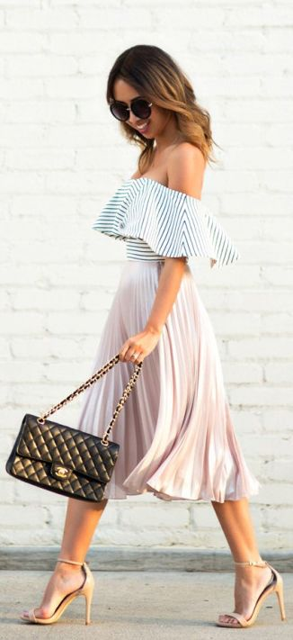 Off-shoulder Top and Pleated Skirt via