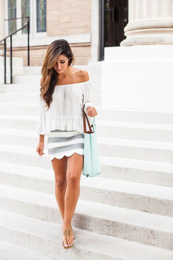 Off-shoulder Top and Scalloped Skirt via