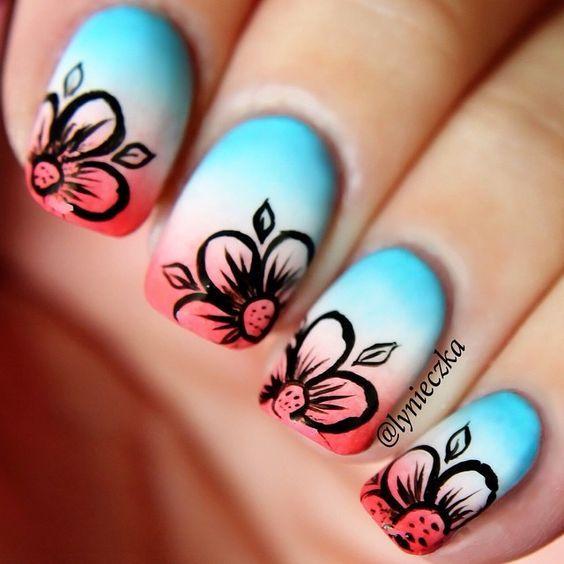 Ombre Floral Nails via