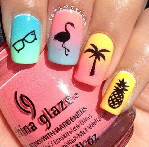 Ombre Nails with Patterns via