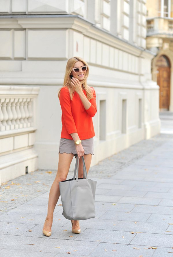 Orange Top and Grey Scalloped Skirt via
