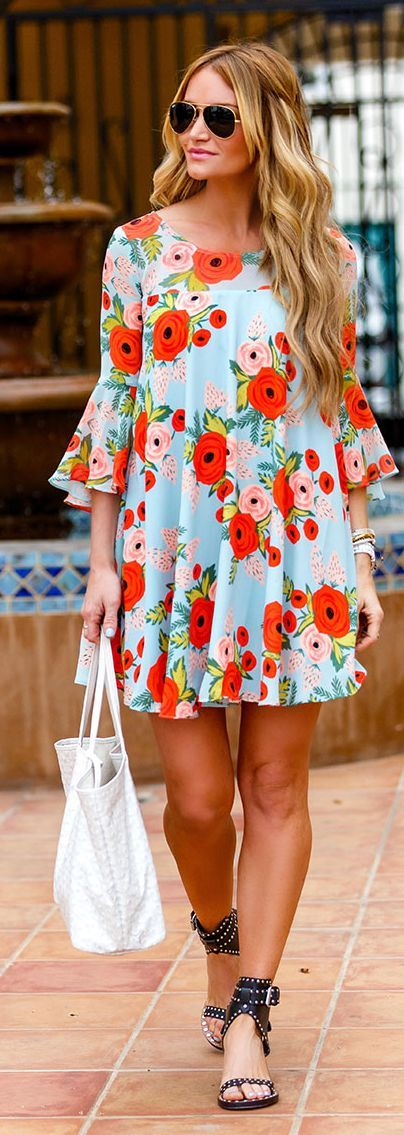 Pale Blue Dress with Flowers via