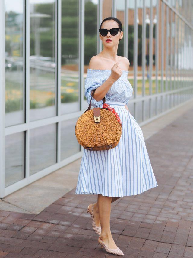 Pale Blue Striped Dress via