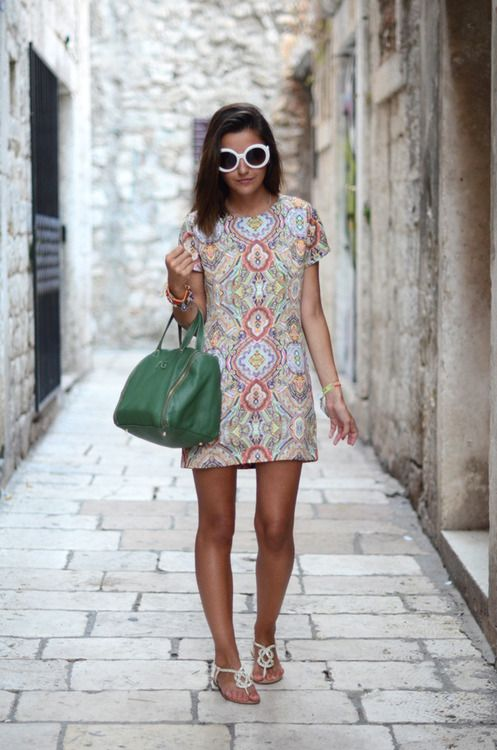 Patterned Dress and Strap Sandals via