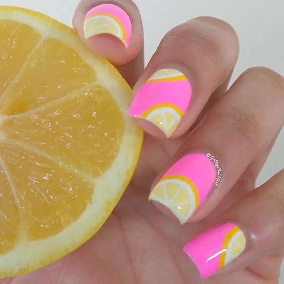 Pink Base and Lemon Nails via