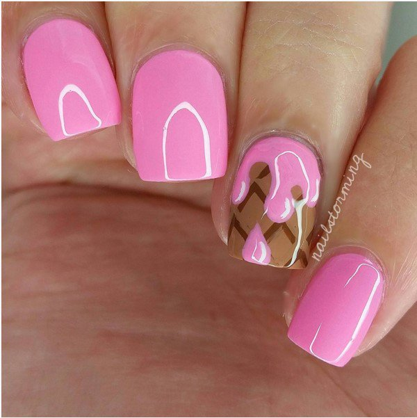 Pink Nails with Chocolate via