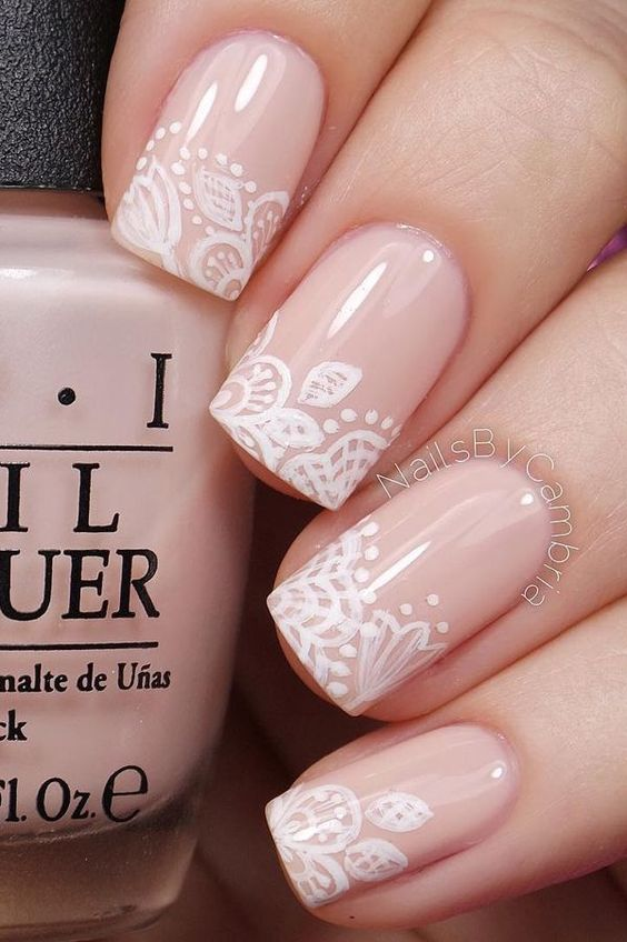 Pink Nails with White Patterns via