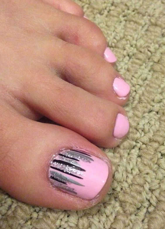 Pink Toe Nails with Stripes via