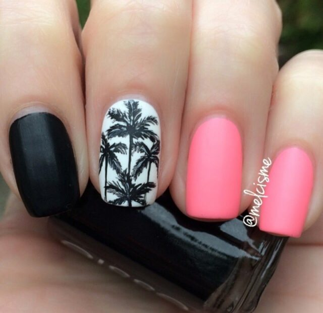 Pink and Black Nails with Palm Tree via