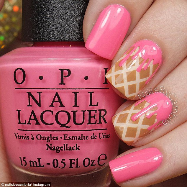 Pink and Brown Nails via
