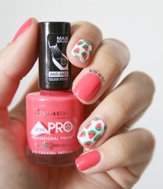 Red Nails with Watermelon Patterns via
