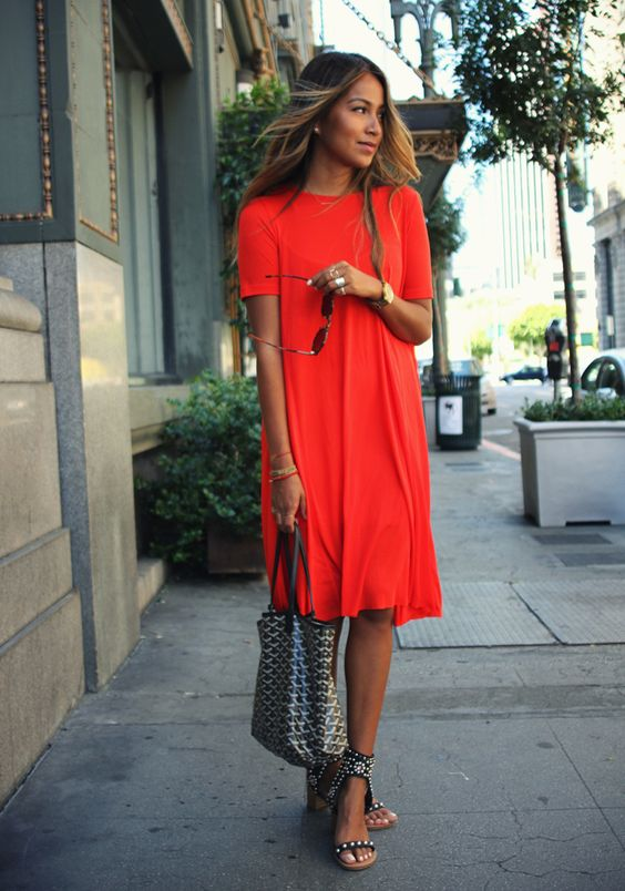 Red T-shirt Dress via