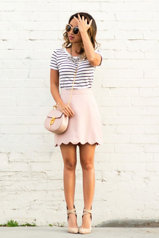 Strip T-shirt and Pink Scalloped Skirt via