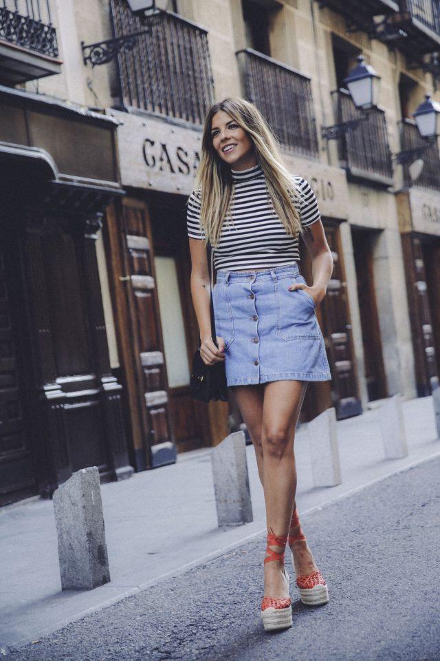 Strip Top and Denim Mini Skirt via