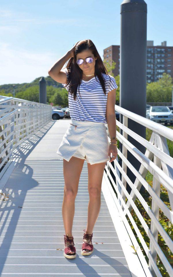 Strip Top and White Shorts via