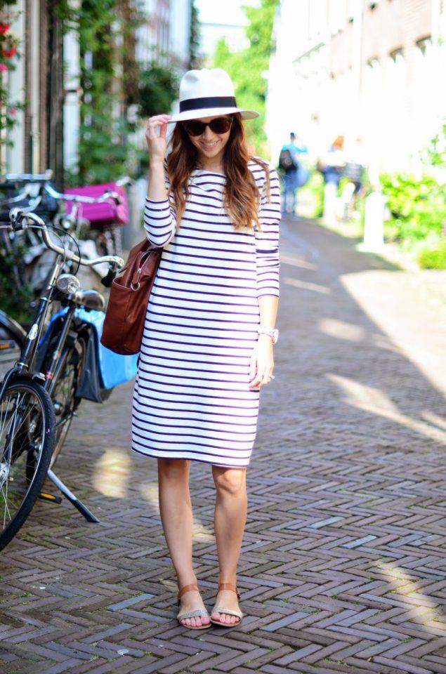Striped Dress with Hat via