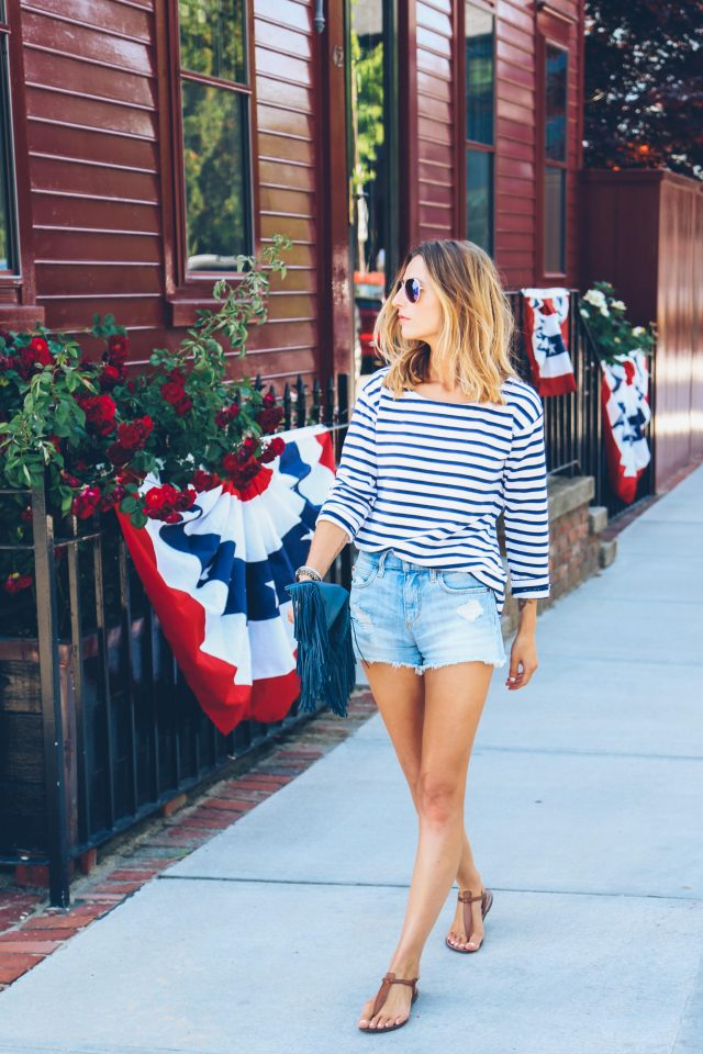 Striped Top and Ripped Jeans via