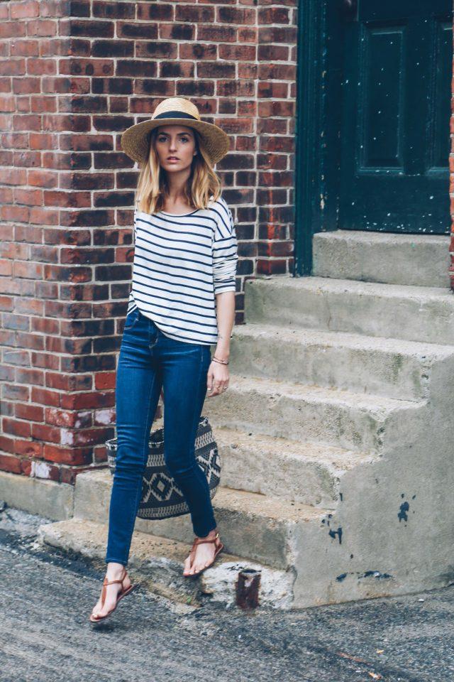 Striped Top and Skinny Jeans via