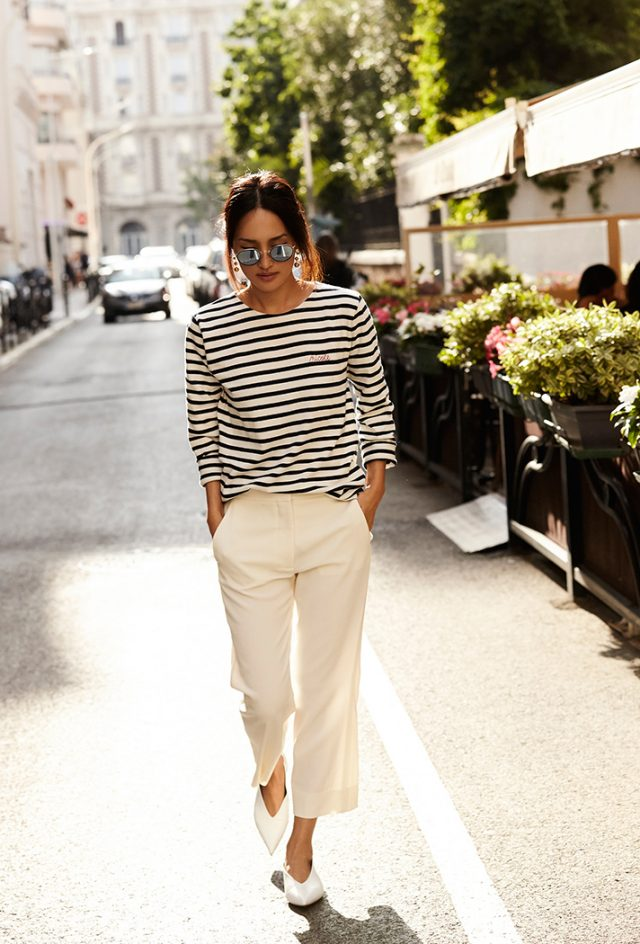 Striped Top and White Pants via