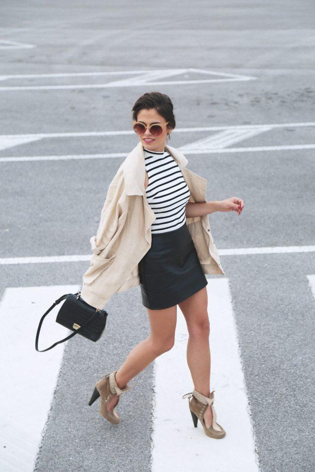 Tank Top and Black Mini Skirt via