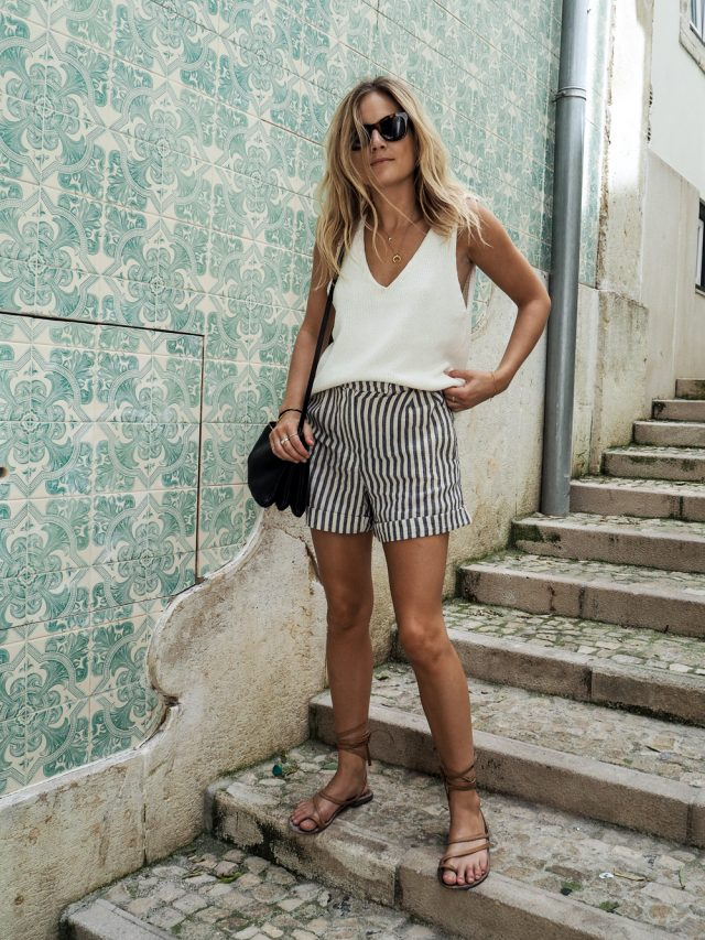 Tank Top and Striped Shorts via