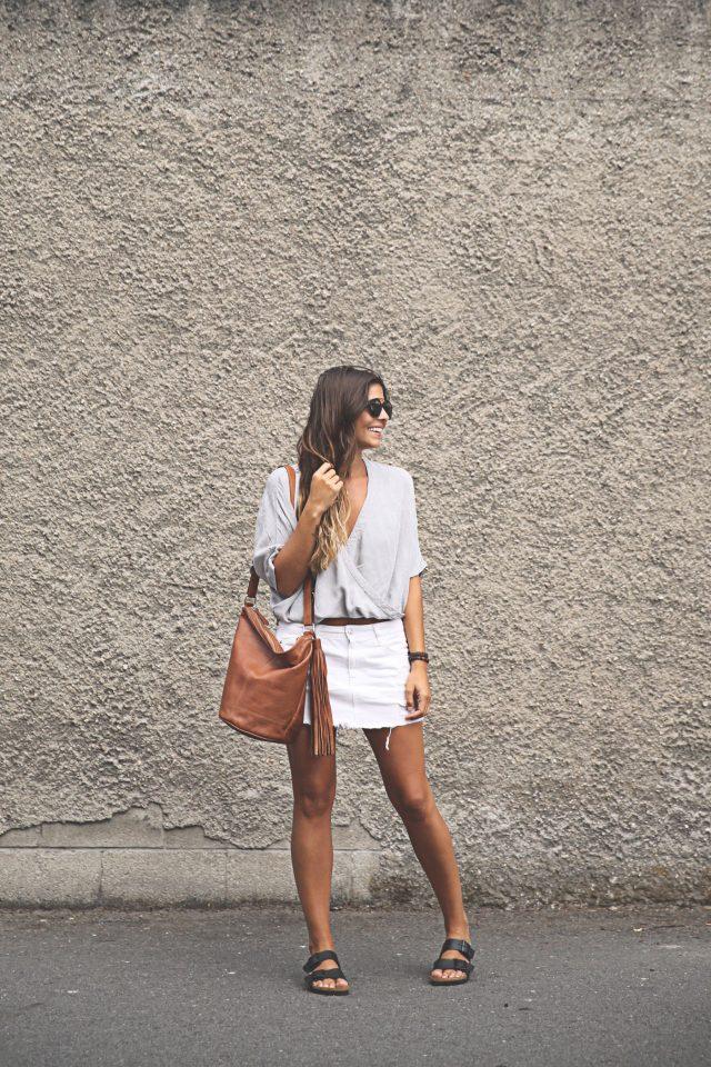 V-neck Top and White Mini Skirt via