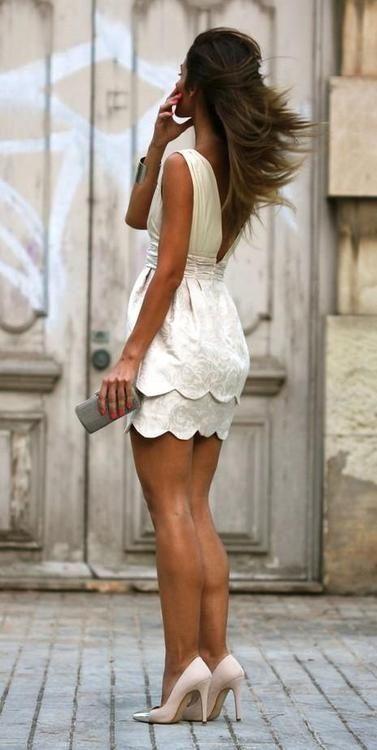 White Dress and Nude Heels via