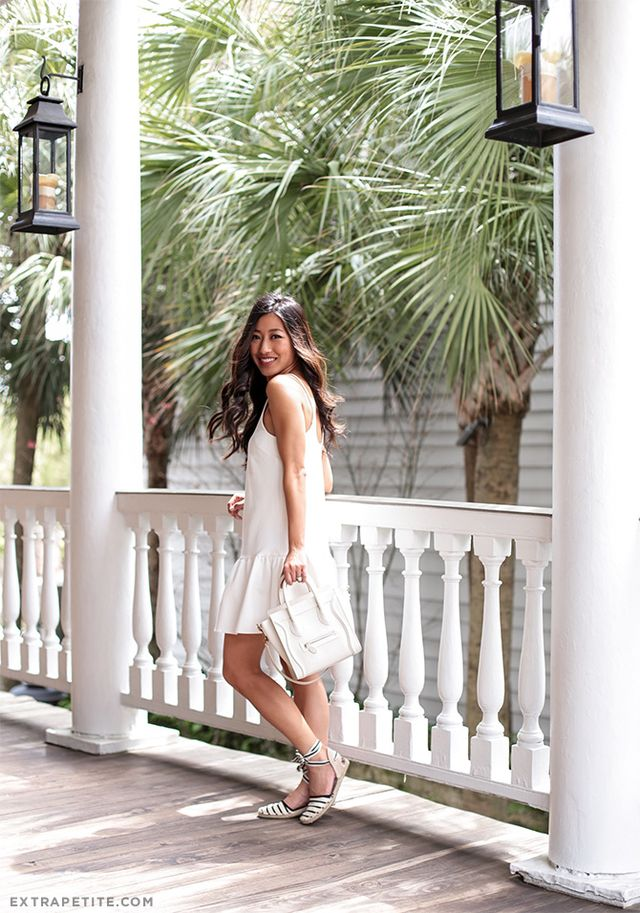 White Dress and Strip Espadrilles via