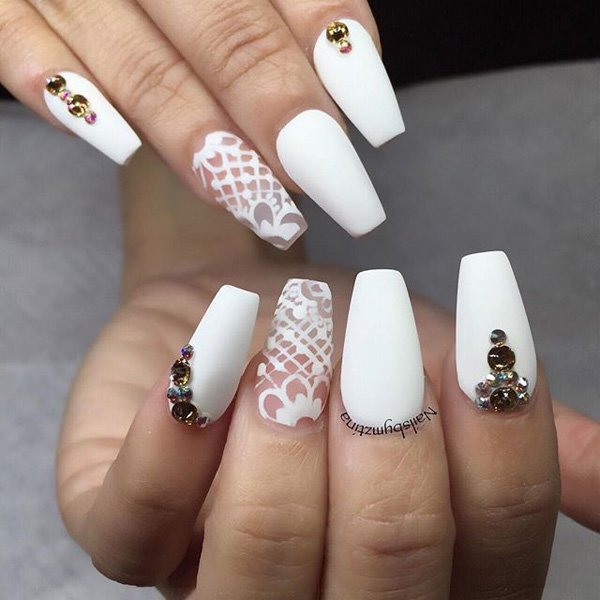 White Nail Ideas: 15 Wedding Inspired Nail Ideas You Will Like