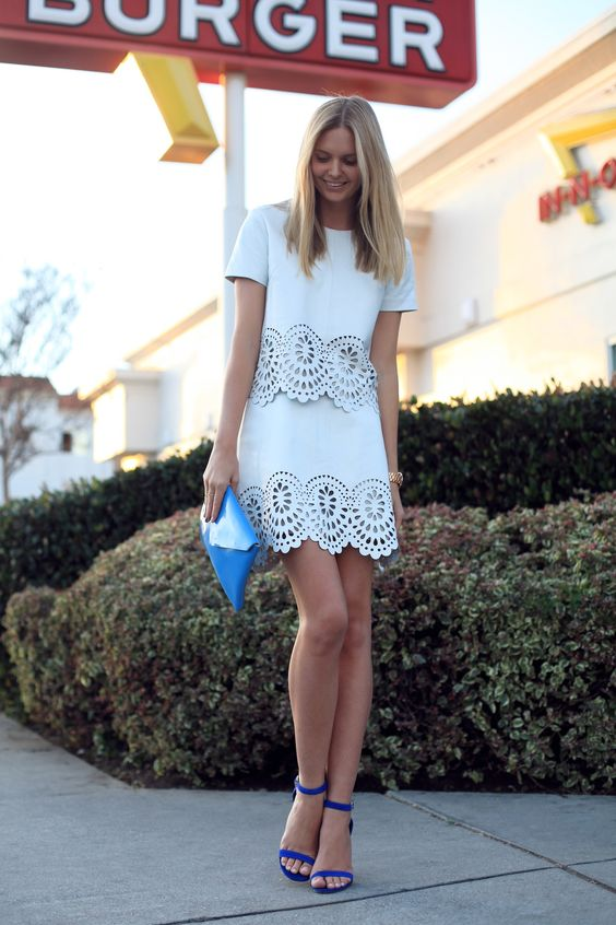 White Outfit and Blue Sandals via