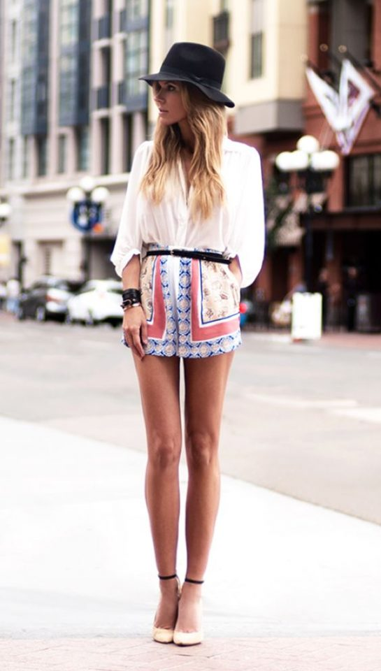 White Shirt Top and Fabric Shorts via