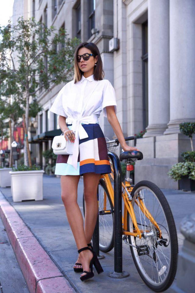White Shirt and Mini Skirt with Color Blocks via